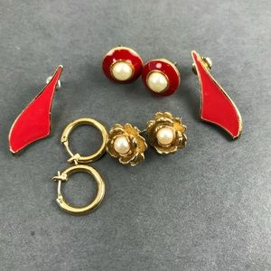 Vintage red pearl gold earring lot